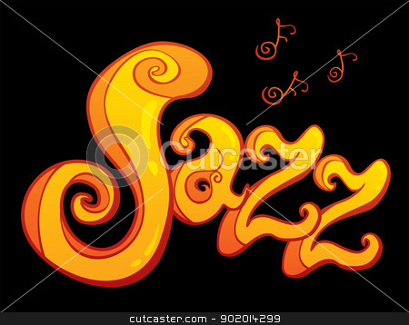 Symbol of Jazz stock vector clipart, Jazz with music notes in graffiti style by Oxygen64
