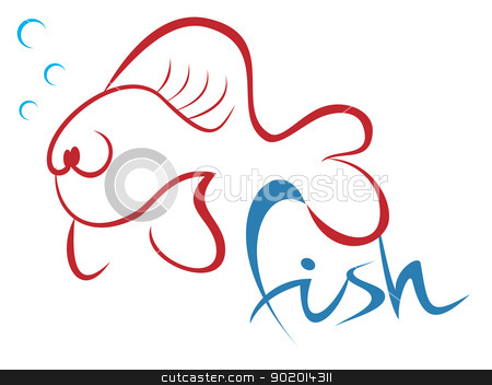 Fish symbol stock vector clipart, Illustration of tropical fish isolated on white by Oxygen64