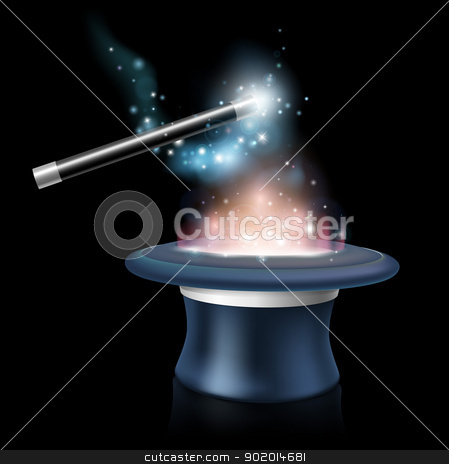 Magic tick hat and wand stock vector clipart, Magic tick hat and wand with magical blue light and stars around it being waved over a glowing magic top hat by Christos Georghiou