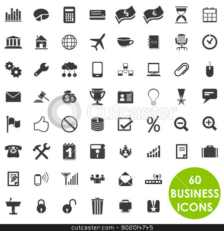 60 valuable creative business icons stock vector clipart, Isolated business icons. 60 of them by Etty  Ozer