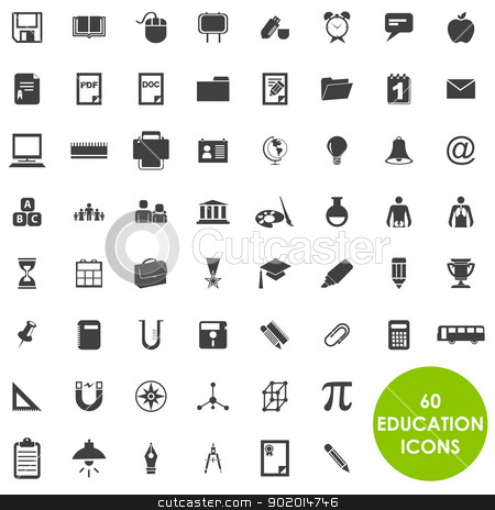 Education icons basics vector stock vector clipart, 60 Education icons basics vector by Etty  Ozer