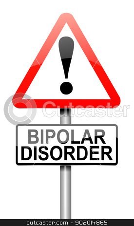 Bipolar disorder concept. stock photo, Illustration depicting a roadsign with a bipolar disorder concept. White background. by Samantha Craddock