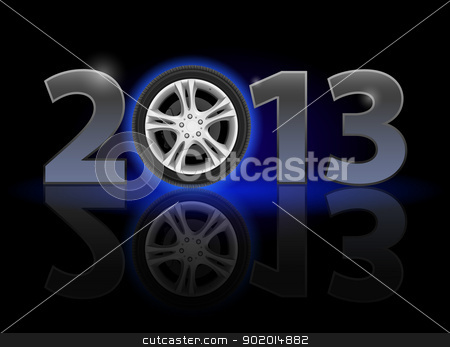 Twenty Thirteen Year stock photo, Twenty Thirteen Year. Car wheel. Illustration on black background by dvarg