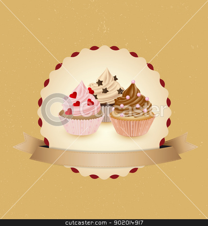 Cupcakes stock vector clipart, cupcake card in vintage style a retro 1 by Miroslava Hlavacova
