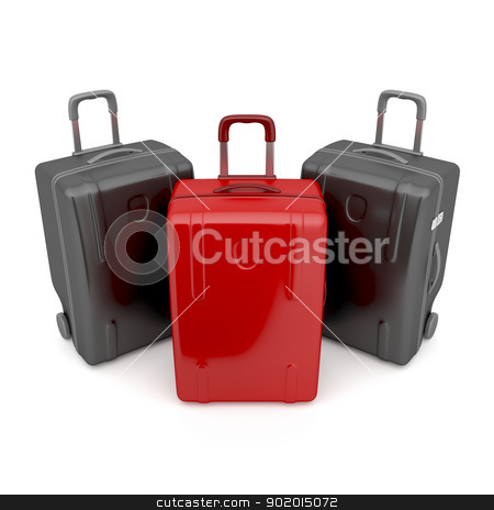 Difference concept stock photo, One red and two black travel bags - difference concept by Mile Atanasov