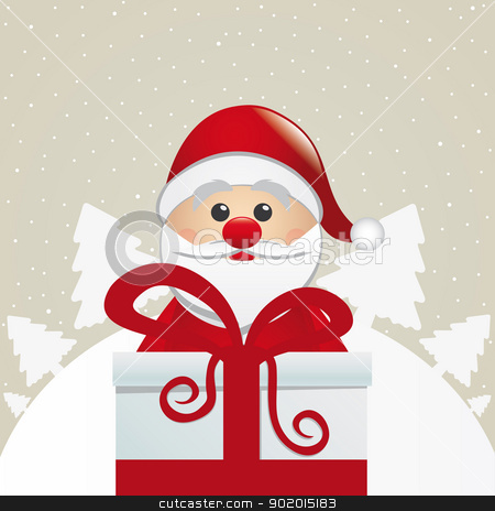 santa behind gift white winter landscape stock vector clipart, santa behind gift box white winter landscape by d3images
