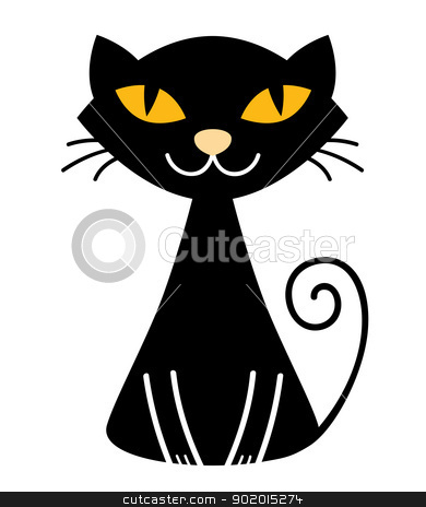 Cute halloween black Cat isolated on white stock vector clipart, Stylized vector black cat. Vector Illustration  by Jana Guothova