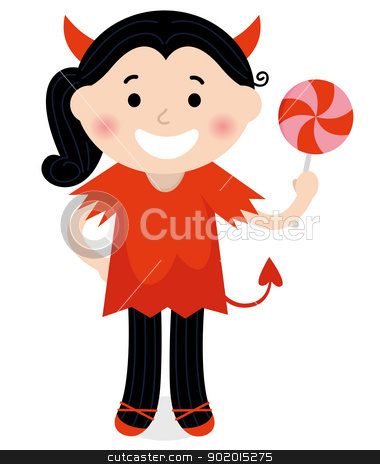 Cute little Devil Girl in red costume isolated on white stock vector clipart, Cartoon Devil child. Vector illustration  by BEEANDGLOW