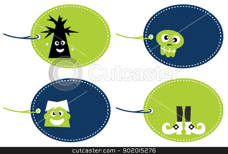 Halloween funny tags set isolated on white stock vector clipart, Cute cartoon halloween tags - green. Vector by Jana Guothova