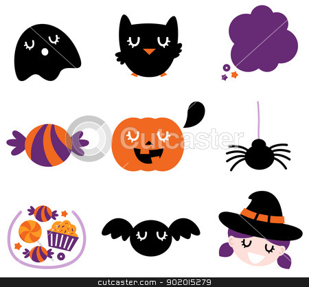 Halloween icon set isolated on white stock vector clipart, Halloween seasonal icons. Vector cartoon by Jana Guothova