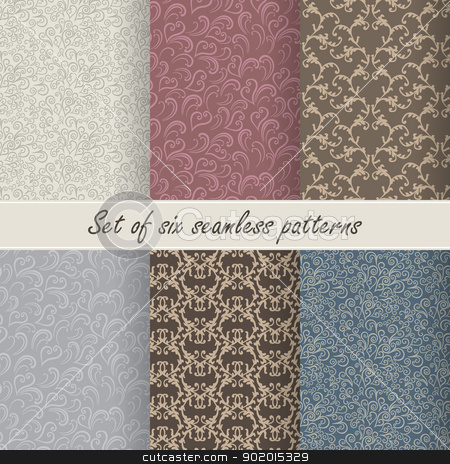 Set of six vector seamless patterns stock vector clipart, Set of six vector seamless patterns for design by Allaya