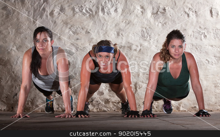 Three Women Do Push Ups in Boot Camp Workout stock photo, Sweating women doing push ups during bootcamp workout by Scott Griessel