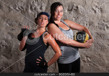 Confident Boot Camp Training Women stock photo, Happy young women with boot camp training equipment by Scott Griessel