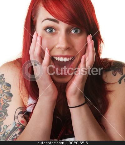Hysterical Woman Shouting stock photo, Hysterical European female with hands near face over white by Scott Griessel