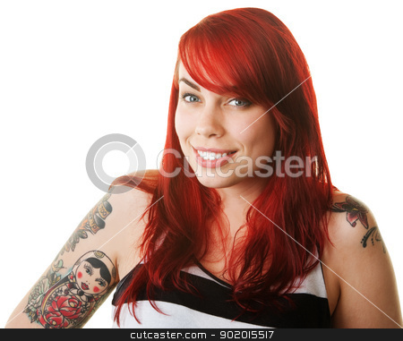 Happy Woman with Tattoo stock photo, Happy woman in red hair with russian doll tattoo by Scott Griessel