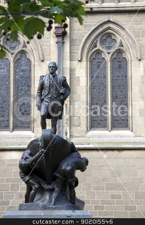 captain matthew flinders stock photo, captain matthew flinders statue in melbourne city australia by malaysiaguy
