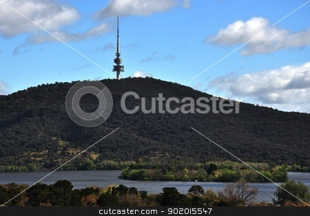 blue mountain tower stock photo, blue mountain tower located in canberra australia by malaysiaguy
