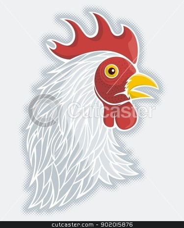 Gray rooster head stock vector clipart, Gray rooster head with halftone shade on gray background. by fractal.gr