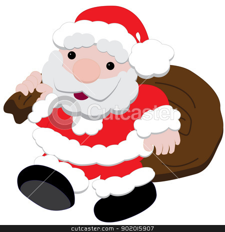 Santa Claus with presents stock vector clipart, Isolated vector of Santa carrying a sack full of presents by William Robson