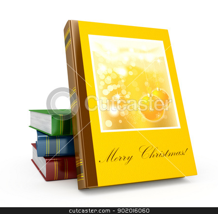 3d render christmas book on a white background stock photo, 3d render christmas book on a white background by blotty