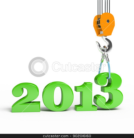 Building a hook puts the figure three stock photo, Building a hook puts the figure three. 3d illustration of New Year 2013 by blotty