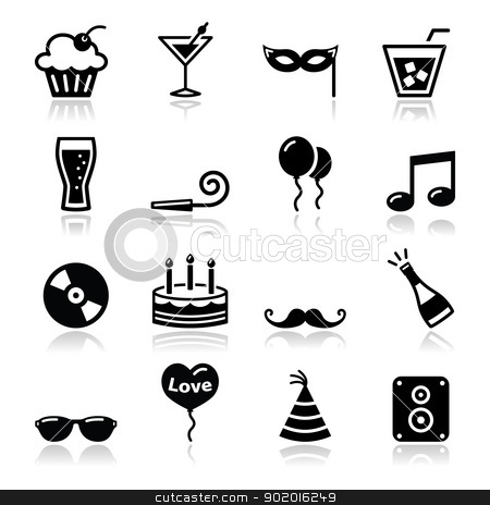 Party icons set - birthday, New Year's, Christmas stock vector clipart, Black icons set - christmas, valentines, birthday, new year's celebration by Agnieszka Murphy