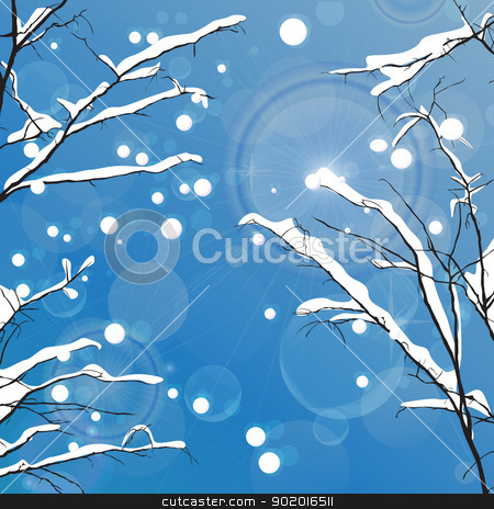 Winter leafless trees stock vector clipart, Winter leafless trees background. Tansparency effect used. by Richard Laschon
