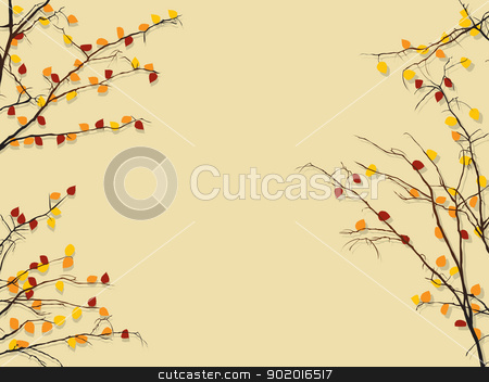 Autumn foliage background stock vector clipart, Background illustration with autumn rees and shadow by Richard Laschon