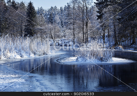 river landscape stock photo, landscape of river Ha?cza in blue color by photomim