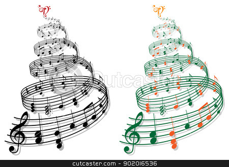 tree with music notes, vector stock vector clipart, swirly tree with music notes, vector illustration by Beata Kraus