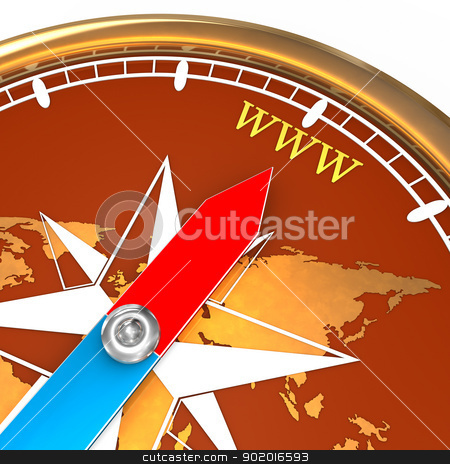 Compass WWW stock photo, Golden compass with text