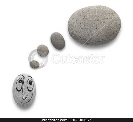 Cute free-hand drawing character with thinking baloon on pebbles stock photo, Thinking baloon and cute character with funny facial expression on pebble with path. by necati turker