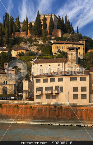 Castel San Pietro (1852) - Verona Italy stock photo, Views of the hills north of Verona with the San Pietro's Castle on the top - Italy