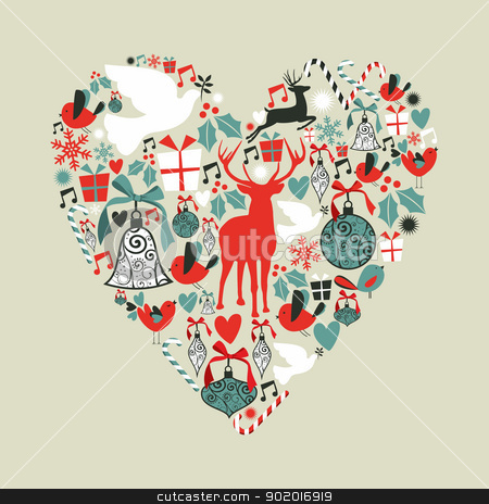 Christmas icons in love heart stock vector clipart, Christmas icons set in love heart shape greeting card background. Vector illustration layered for easy manipulation and custom coloring. by Cienpies Design