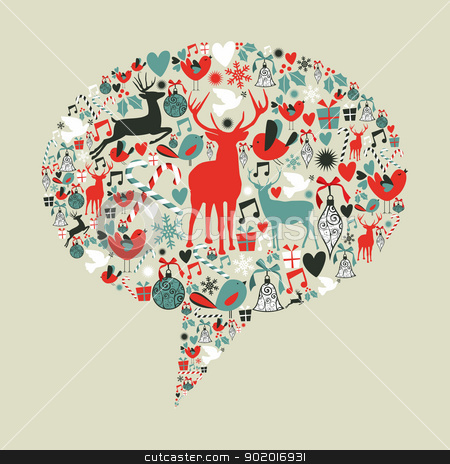 Christmas social media speech bubble stock vector clipart, Christmas icons set in social media networks speech bubble. Vector illustration layered for easy manipulation and custom coloring. by Cienpies Design