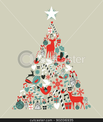Christmas icons pine tree stock vector clipart, Christmas icons in pine tree shape greeting card background. Vector illustration layered for easy manipulation and custom coloring. by Cienpies Design