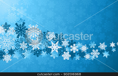 Christmas blue snowflakes background stock vector clipart, Blue Christmas snowflakes background. Vector illustration layered for easy manipulation and custom coloring. by Cienpies Design