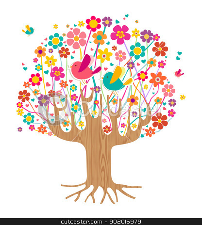 Isolated spring time tree stock vector clipart, Isolated spring time tree illustration with wooden trunk. Vector file layered for easy manipulation and custom coloring. by Cienpies Design