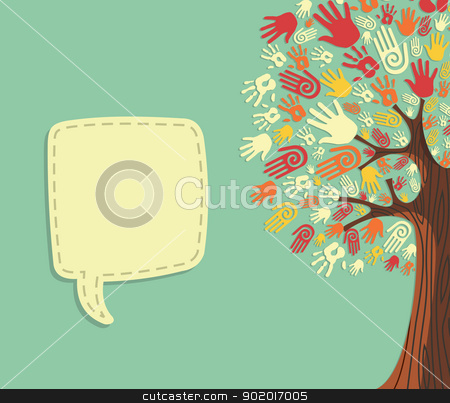 Diversity Tree hands template stock vector clipart, Diversity tree hands illustration with blank for text greeting card template. Vector file layered for easy manipulation and custom coloring. by Cienpies Design