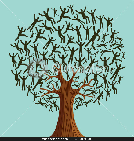 Isolated Diversity Tree people stock vector clipart, Isolated Diversity tree people illustration. Vector file layered for easy manipulation and custom coloring. by Cienpies Design