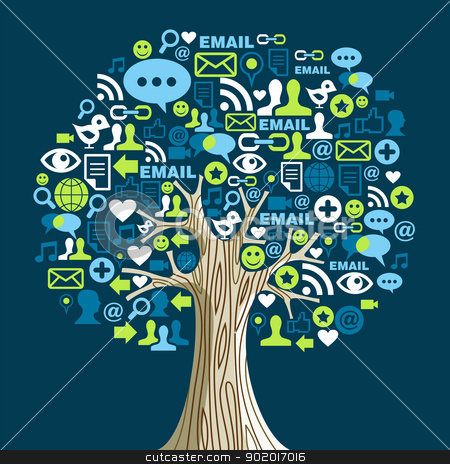 Social media networks tree stock vector clipart, Social network tree with media icons leaves. Vector illustration layered for easy manipulation and custom coloring. by Cienpies Design