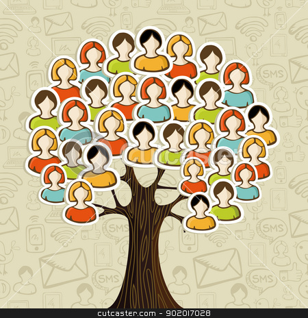 Social media networks tree stock vector clipart, Social media networks tree with people icons leaves over icons pattern background. Vector illustration layered for easy manipulation and custom coloring. by Cienpies Design