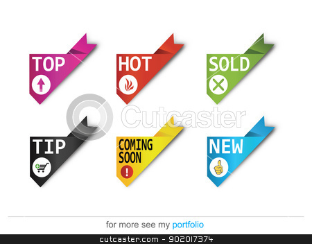 Corner ribbons-Sign-Symbol-Vector-New,Sold,Hot,Sale stock photo, Vector image for various applications: websites, print, icons, logo, sign, advertising, business, internet and other uses. Vector can adjust color to your liking. Ribbon. by Milan Gudba