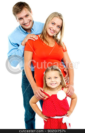 Snap shot of a complete family stock photo, Snapshot of a complete family isolated against white background by Ishay Botbol