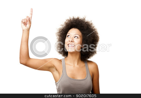 Have an idea stock photo, Afro-American young woman isolated on white looking up with a finger on the air by ikostudio