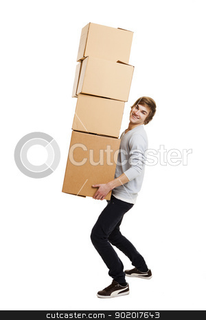 Man holding card boxes stock photo, Portrait of a handsome young man holding card boxes, isolated on white by ikostudio