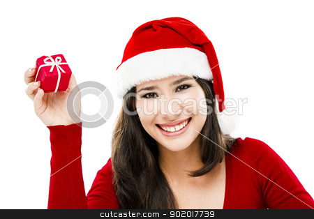Santa Woman stock photo, Beautiful asian woman wearing Santa's hat holding a small christmas gift, isolated on white by ikostudio