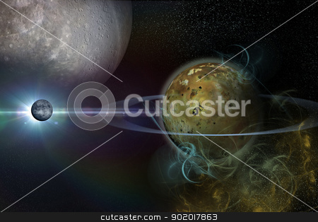 planet with rings stock photo, the background of the cosmos by vitanovski