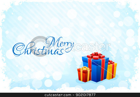 Grungy Blue Christmas Card stock vector clipart, Grungy Blue Christmas Card with Fir-trees and Presents by Vadym Nechyporenko