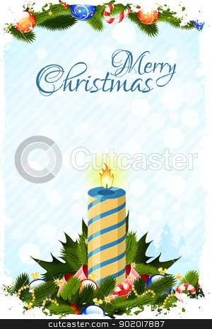 Grungy Christmas Card with Decorations stock vector clipart, Grungy Christmas Card with Candle Fir Trees and Decoration by Vadym Nechyporenko